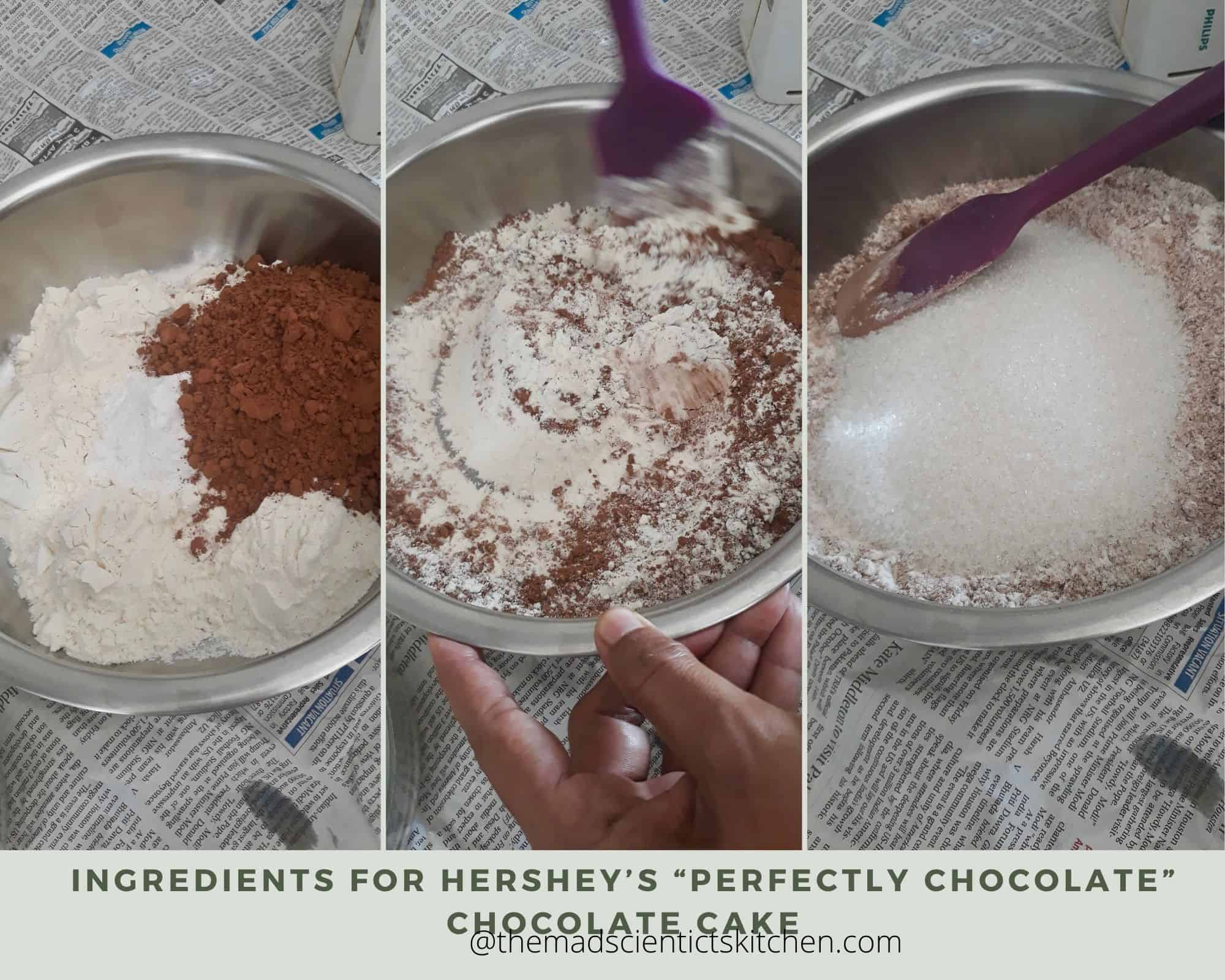 Dry ingredients for Chocolate cake