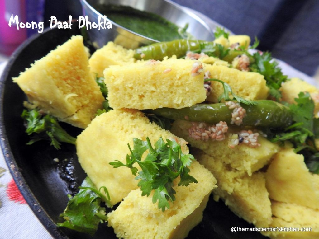 Moong Dal Dhokla,yellow gram steamed savoury cakes
