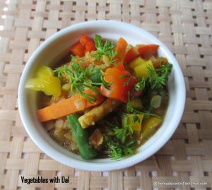 Masoor Dal with Vegetables, Protein Rich Vegetarian