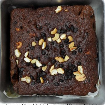 Egg-less Chocolate Sticky Date and Cashew Nut Cake
