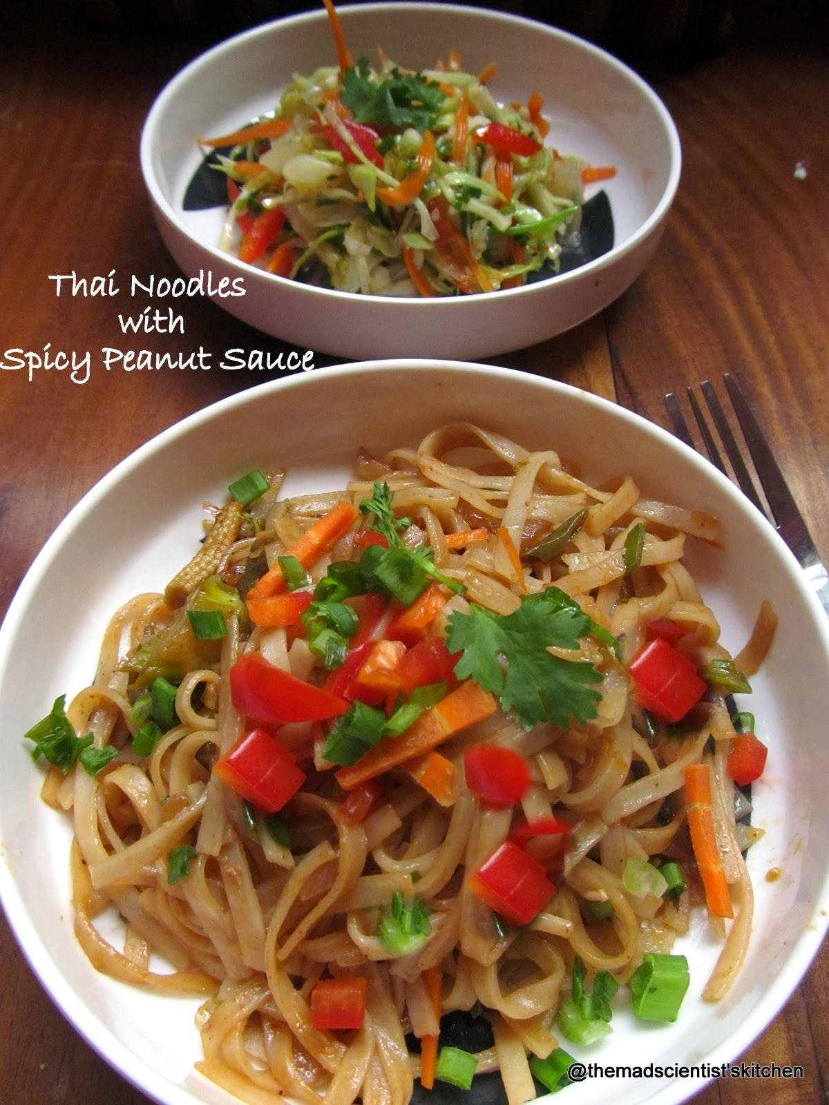 Quick meal with rice noodles Thai style