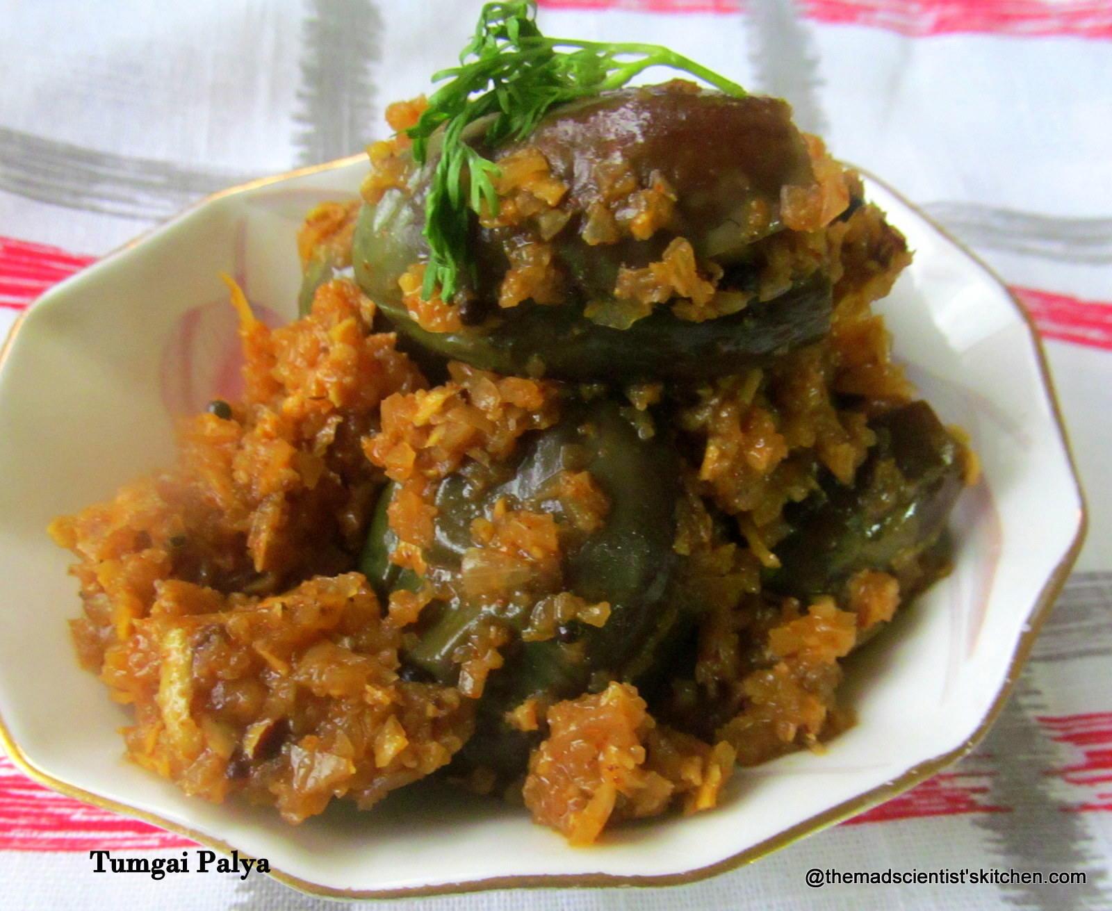 Ennegayi Palya, Stuffed Brinjal or Bharli Vangi, Stuffed Aubergines Indian Style