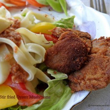 Pasta Salad with Mayonnaise and Shallow fried Oyster Mushrooms