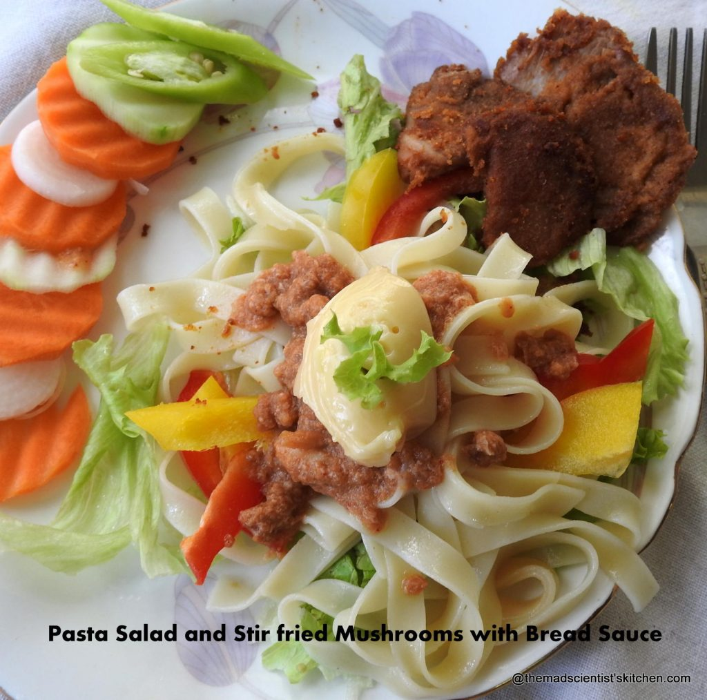 Pasta Salad and Stir fried Mushrooms with Bread Sauce