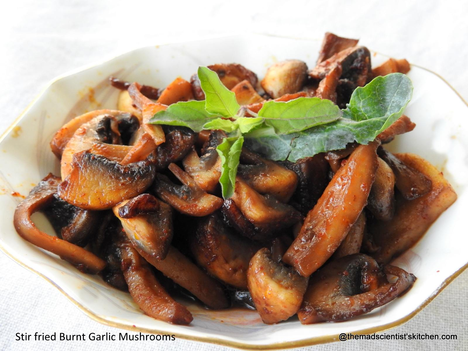 Yummy Stir fried Burnt Garlic Mushrooms