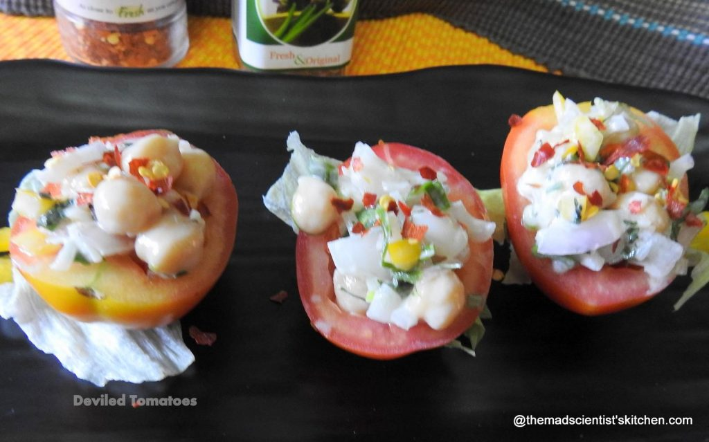 Devilled tomatoes,