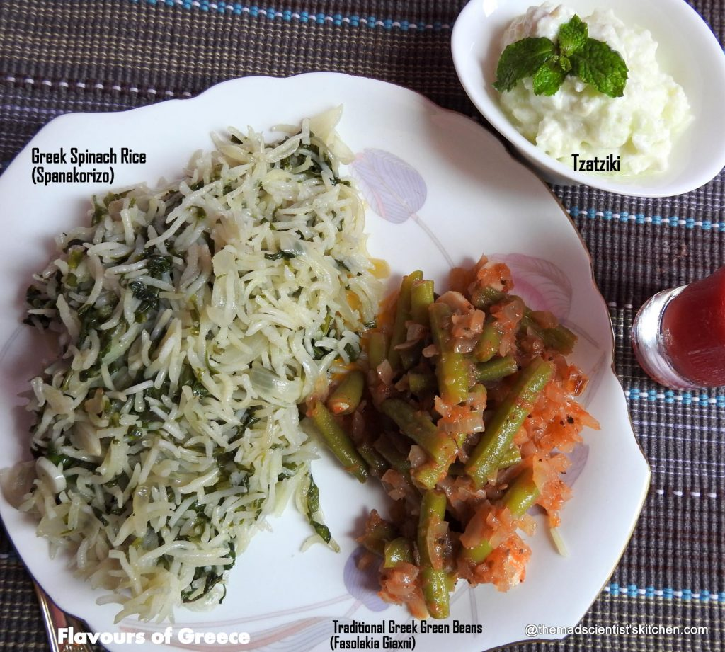 Traditional Greek Green Beans (Fasolakia Giaxni),Greek Spinach Rice|Spanakorizo, Tzatziki