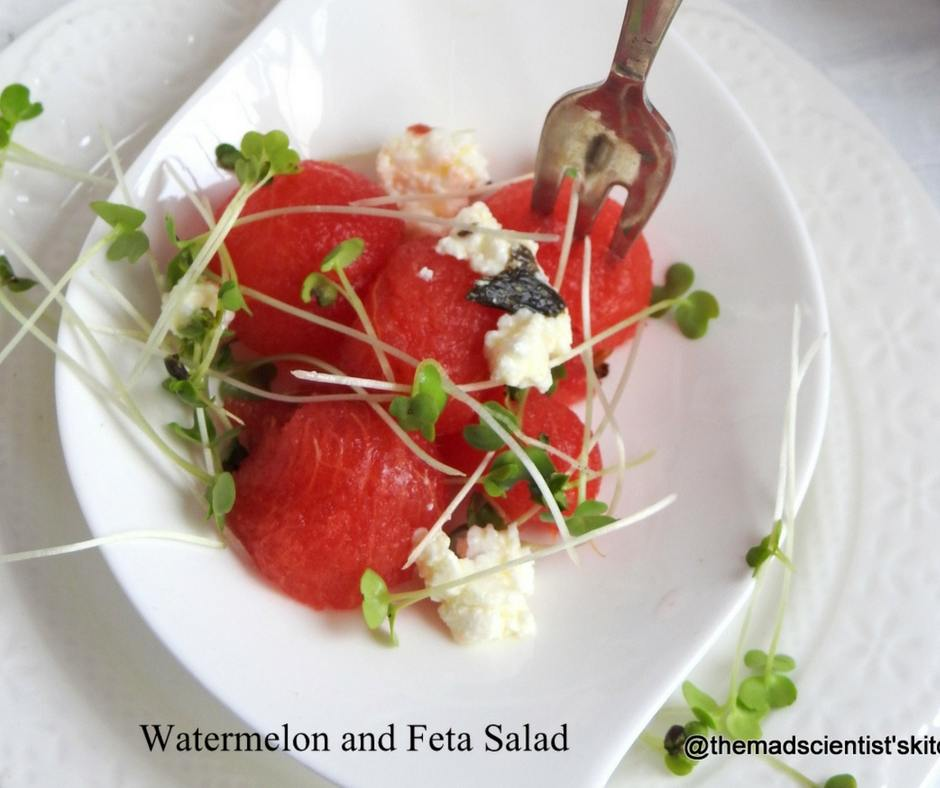 Watermelon and Feta Salad with Micro Greens