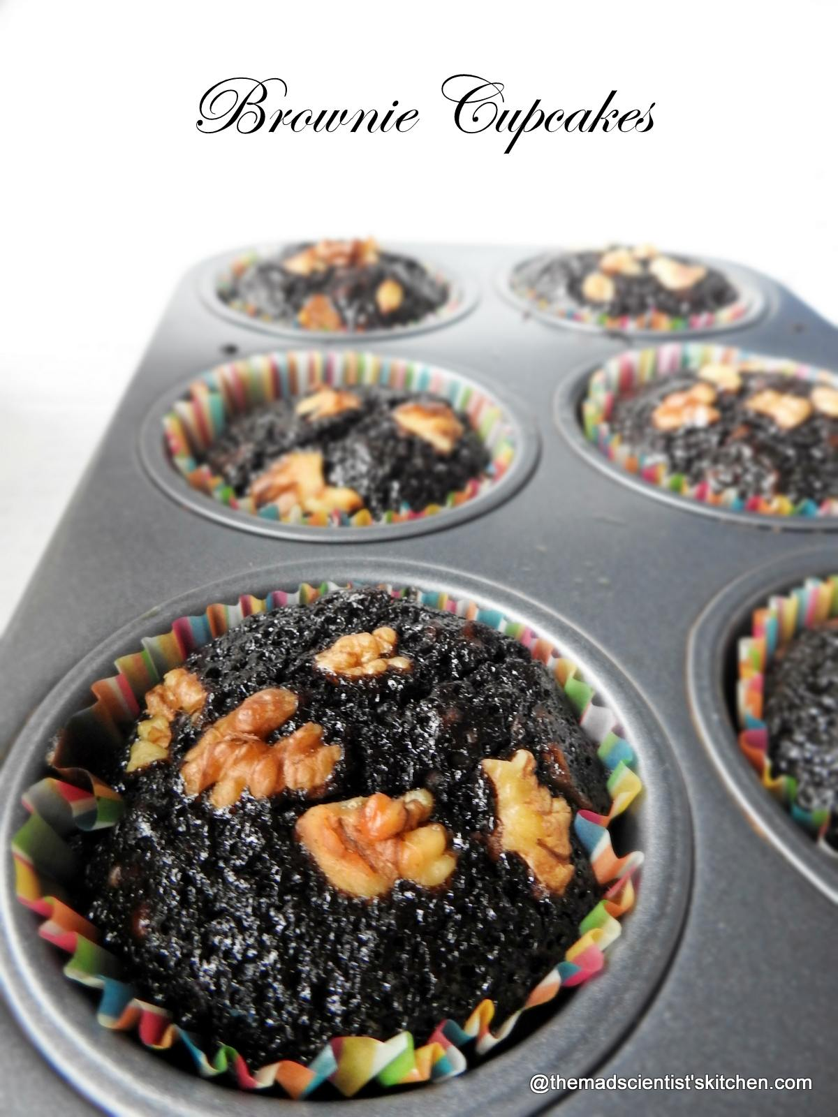 Cupcakes that are brownies with nuts