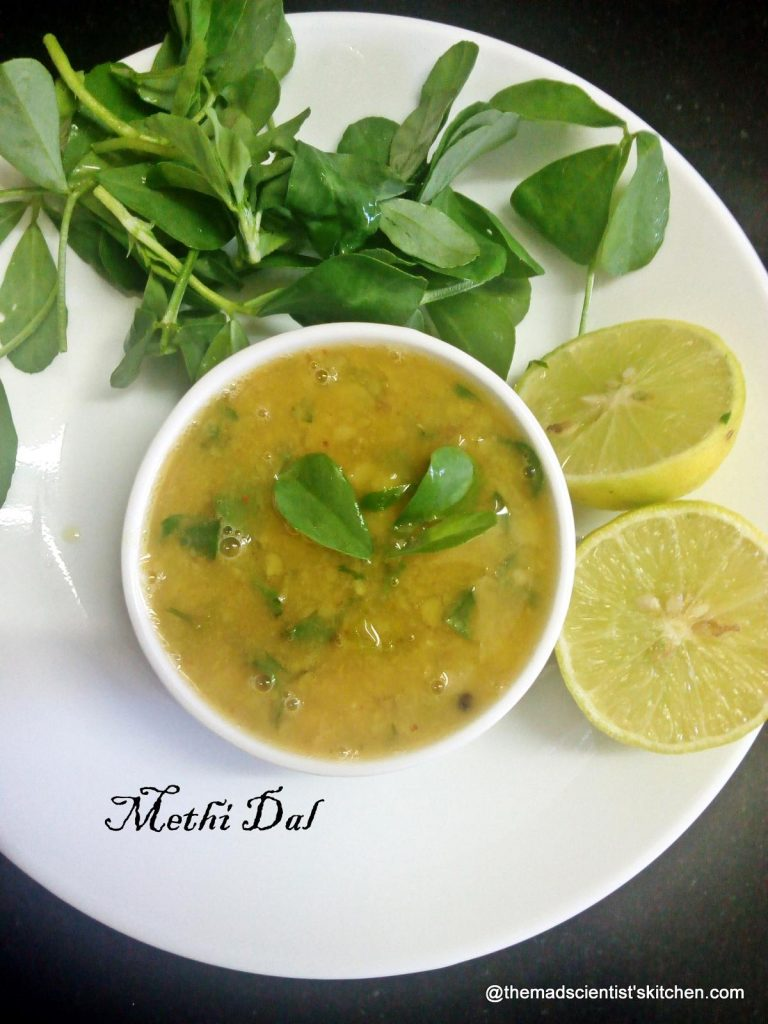 Methiwali dal, Freash Fenugeek Leaves and lentils, methi dal