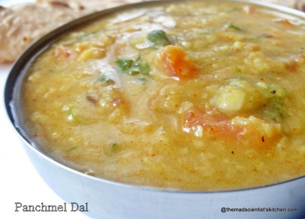 A dal made from 5 lentils namely pigeon pea, split green lentil, red lentils, split bengal gram, split black gram