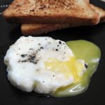 Eggs cooked in simmering water