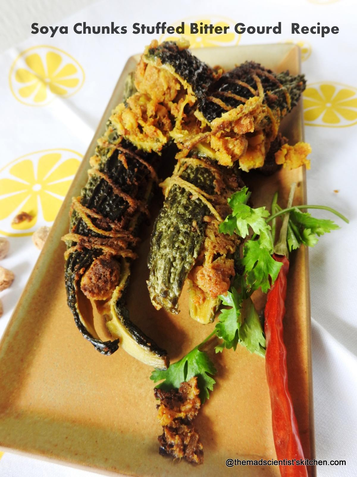 Soya Chunks Stuffed Karela or Soya Chunks Stuffed Bitter Gourd  Recipe