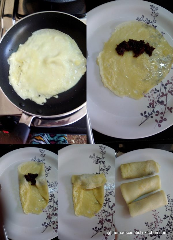 Wrapping the stuffing in the Pancake