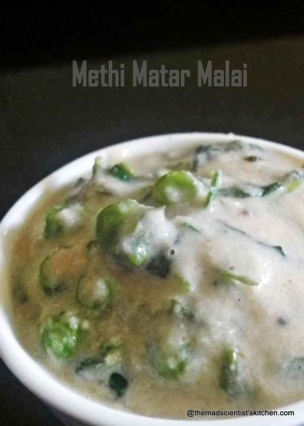 Fenugreek leaves with green peas and cream