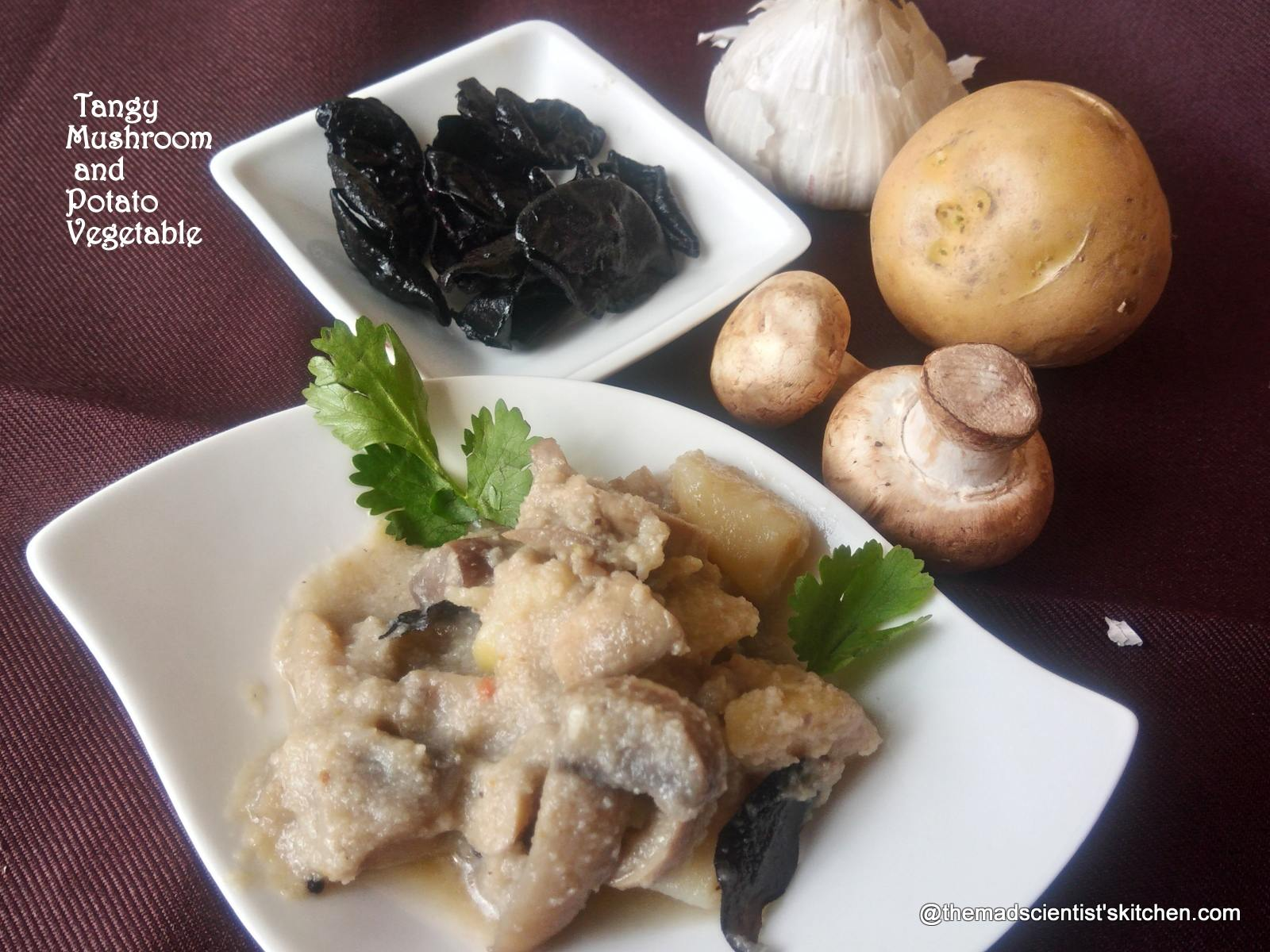 Almi ani Batat che Ambat Tangy Mushroom and Potato Vegetable Recipe
