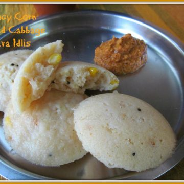 Spicy Corn and cabbage in instant rava idli served with chutney
