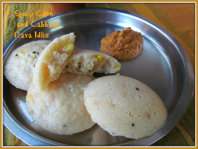Spicy Corn and Cabbage Rava Idlis|Breakfast Recipes