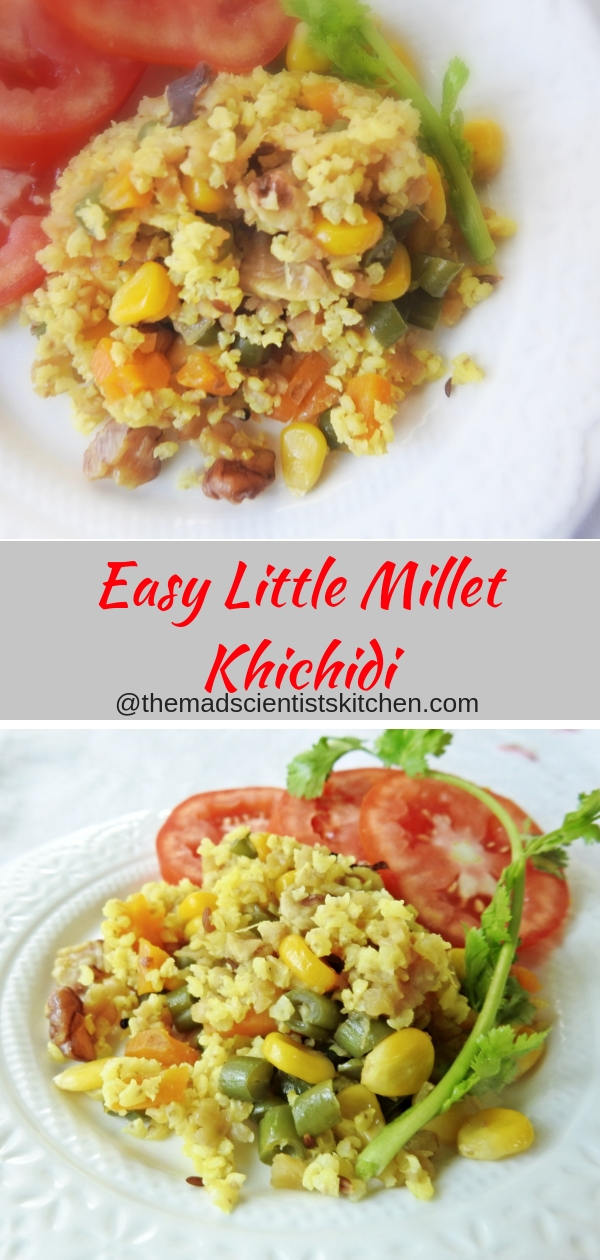 Easy Little Millet Khichidi, quick one pot meal