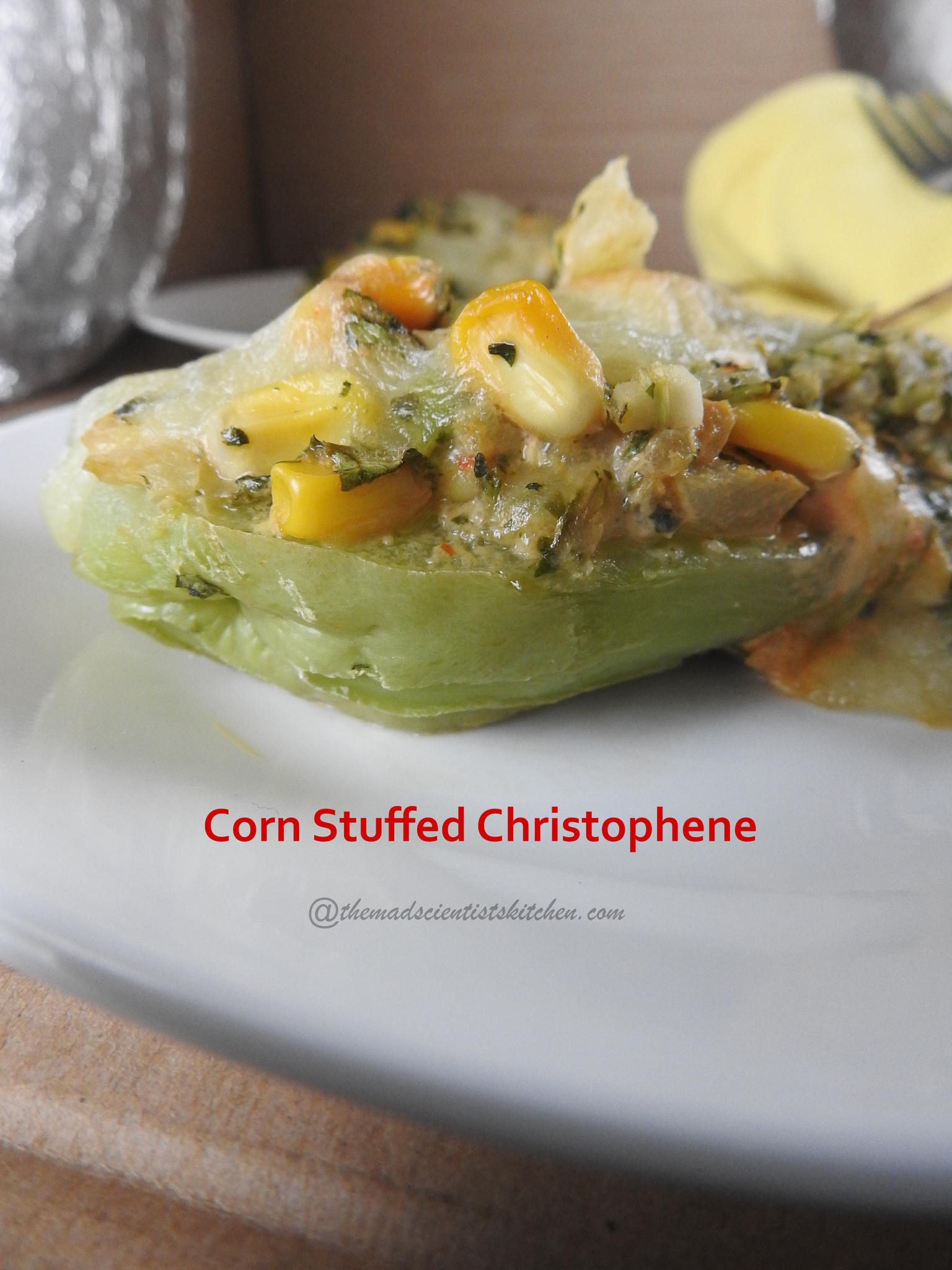 Corn Stuffed Christophene,Corn Stuffed Chayote