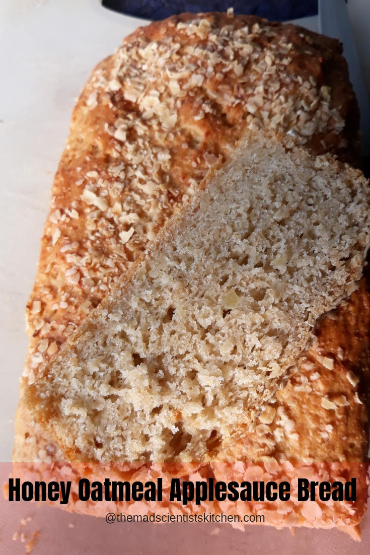 Honey Oatmeal Applesauce Bread #BreadBakers