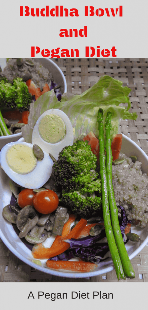 Asparagus, Quinoa, Broccoli, boiled eggs and veggies make my Pegan Buddha Bowl a filling meal