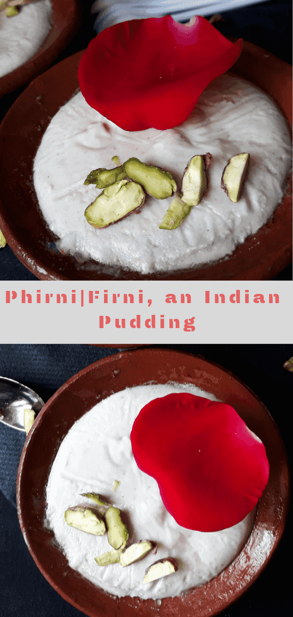 Firni a creamy pudding served garnished with nuts and rose in a clay bowl