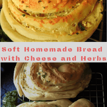 Homemade bread soft and stuffed with garlic, herbs and cheese