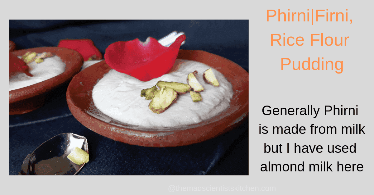a bowl of phirni served traditionally in a clay bowl garnished with pistachios and fresh rose petals