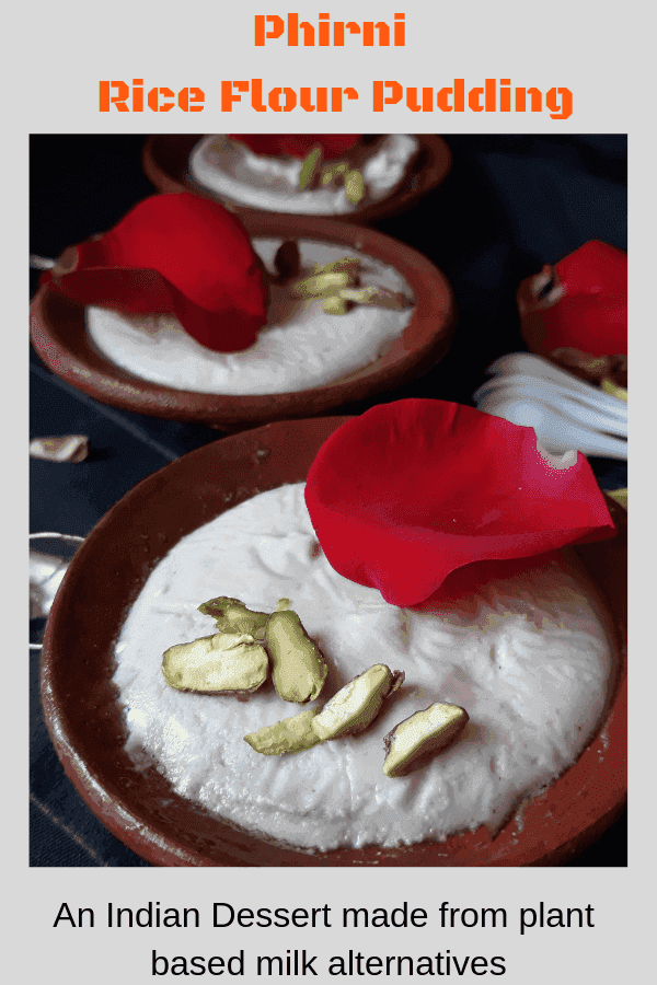 A rustic bowl of Firni, a creamy pudding made here from almond milk