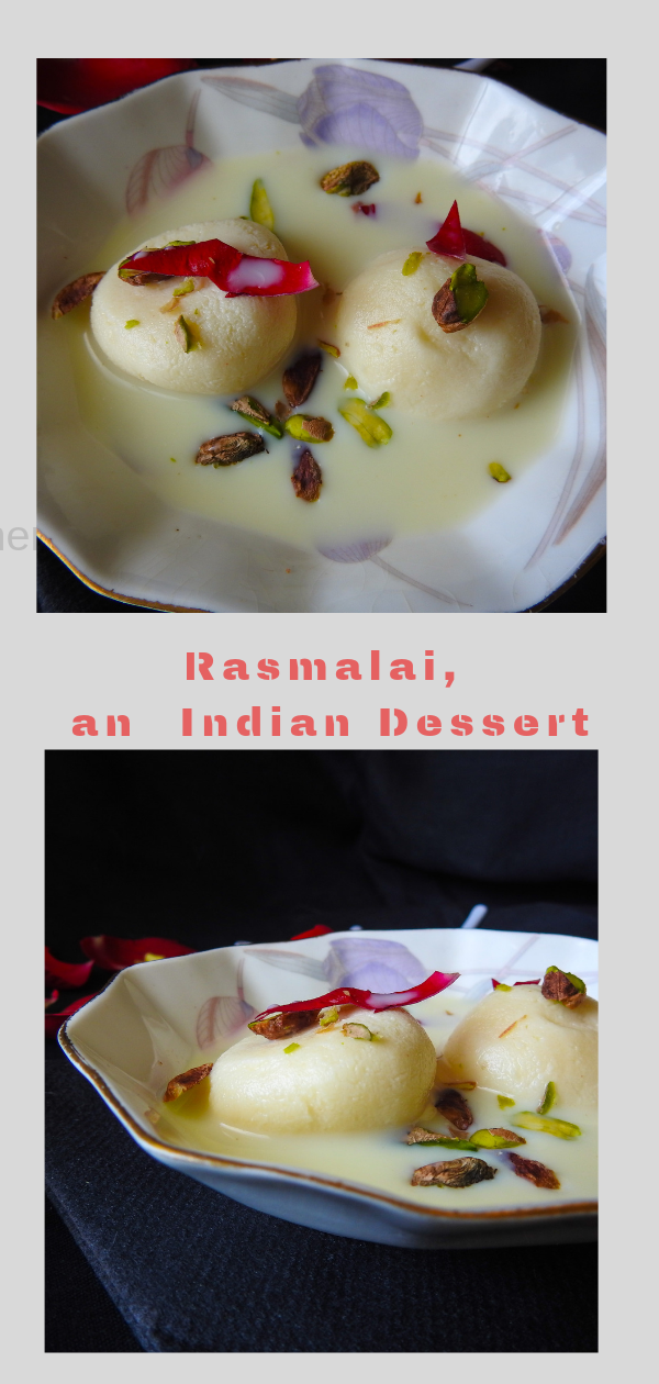 Rasmalai is a delicious Bengali sweet that is served in thickened milk with balls of sweetened cottage cheese. Here I have garnished with pistachio and rose petals