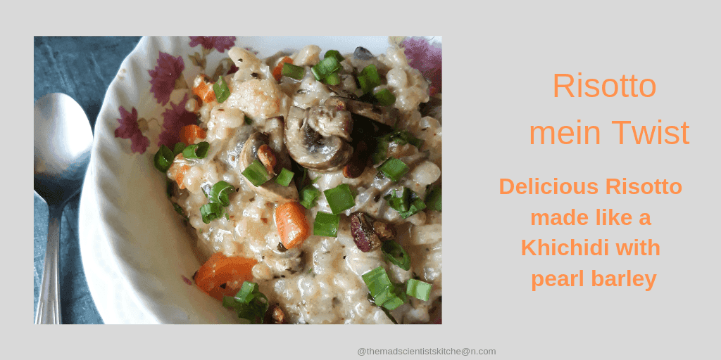 Pearl Barley Risotto make with carrots and mushrooms and garnished with spring onion greens