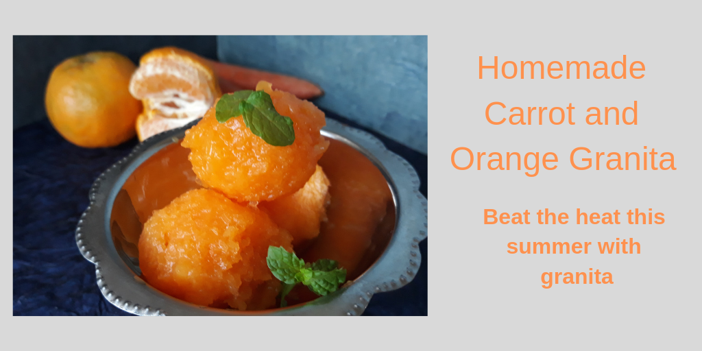A chilled scoop of orange and carrot granita with mint leaves