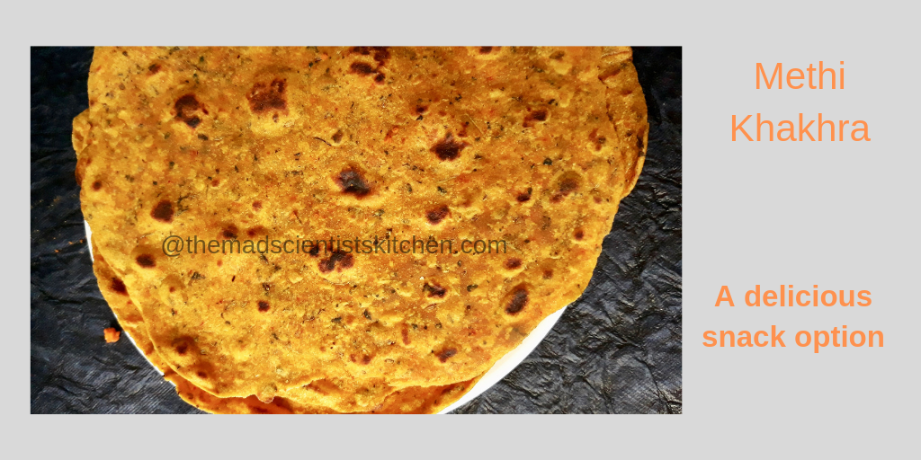 Methi Khakhra a crisp cracker cooked on the skillet