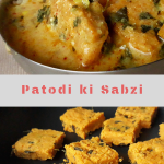 Pithore and Pithore ki Sabzi served in a small plate.