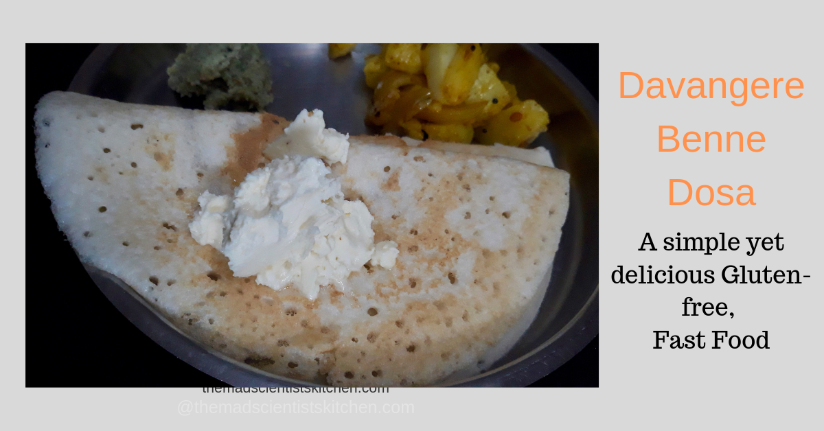 Davangere Benne Dosa served with butter, potato vegetable and coconut chutney