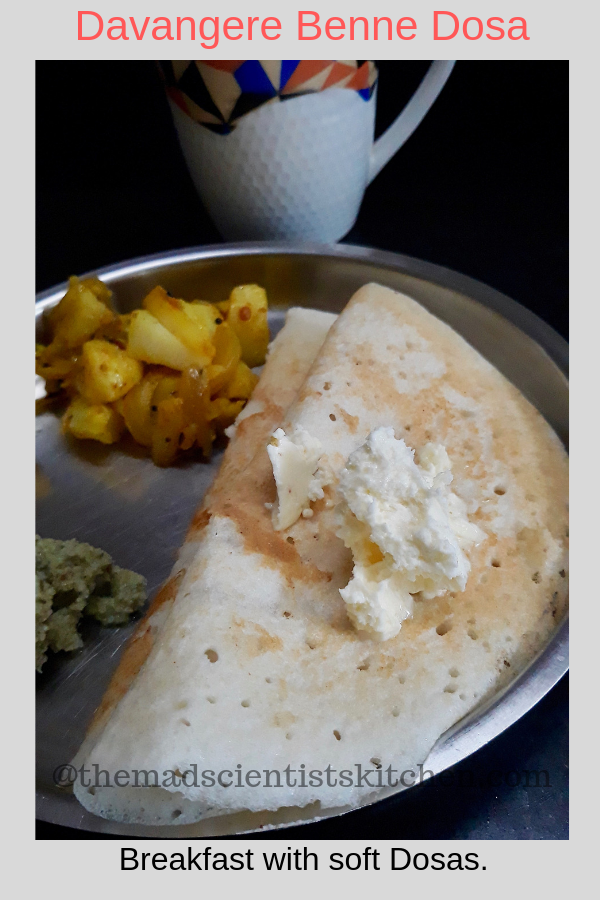 Dish up Davangere Benne Dosa with homemade butter.