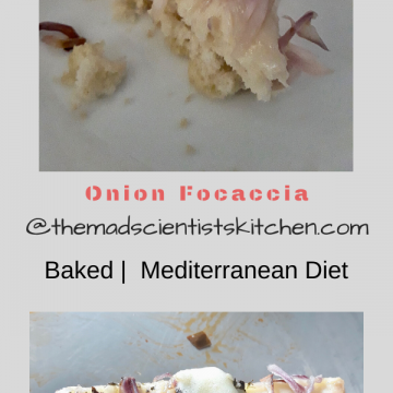 Onion Focaccia slice one plain the other topped with cheese and herbs