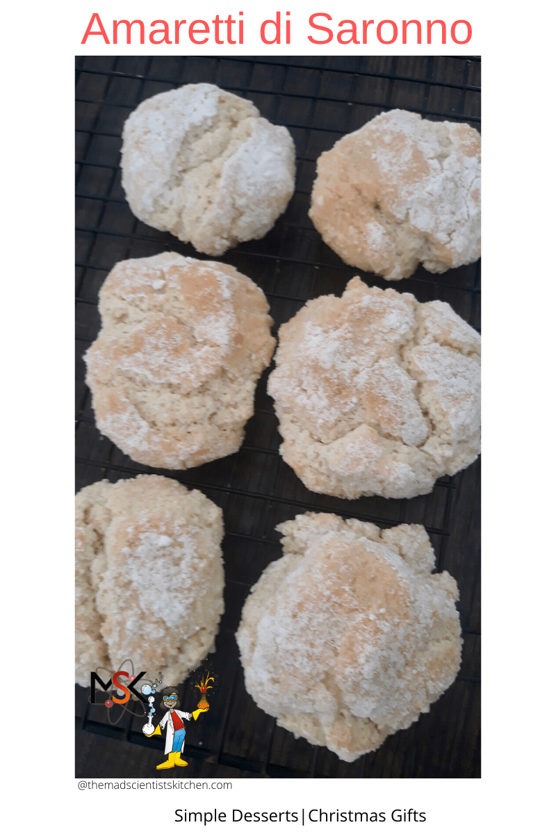 Amaretti cookies cooling on the rack