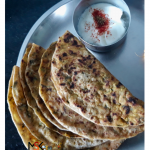 Methi Aloo Paratha with curd