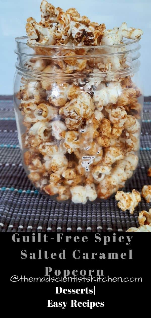 A container of Kettle Corn with Salted Caramel and Cayenne Pepper
