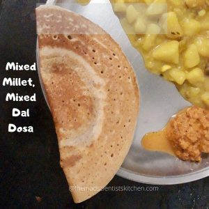 Not just breakfast I hoard a container of dosa batter in my fridge. Useful when you are running shortMixed Millets, Mixed Dal Dosa