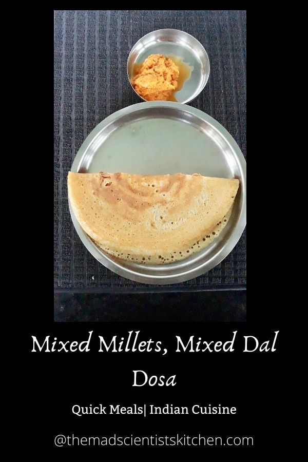 Dosa made at home with Mixed Millets and Mixed lentils