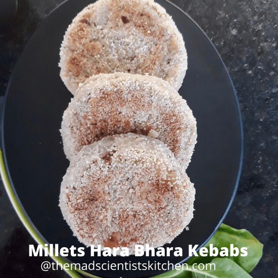 Millets and spinach make a delicious vegan kebab
