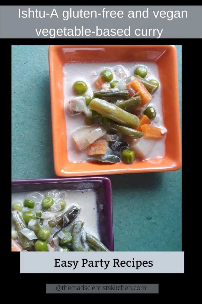 Vegetable stew in orange and purple dishes