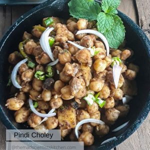 Pindi Chole, a recipe using chickpeas served in a cast iron pan
