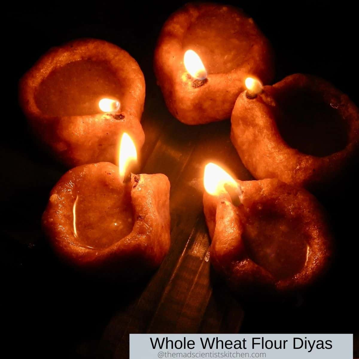 Whole wheat Flour lamps for worship