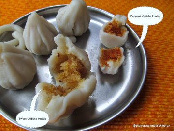 My filling of  modak and sheet laddo