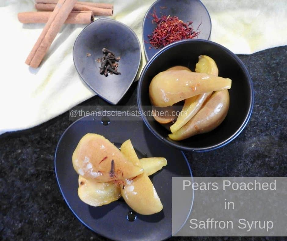 Poached Pears in Saffron Syrup