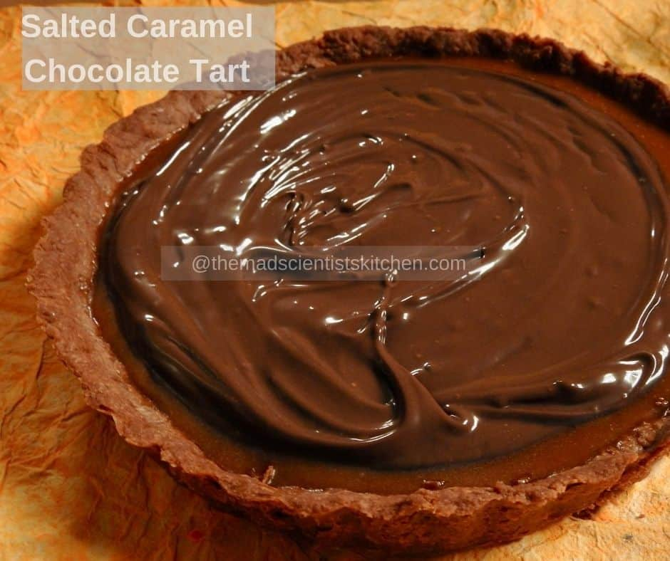 The Salted Caramel Chocolate Tart waiting for a sprinkling of salt